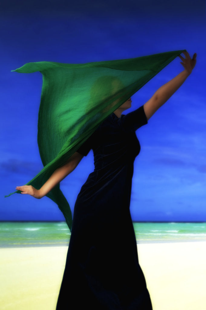 Detail of Woman on the beach with green scarf by Ricardo Demurez