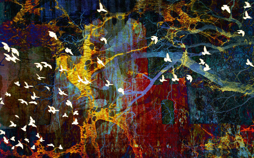 Detail of Abstract and Birds by Dee Smart