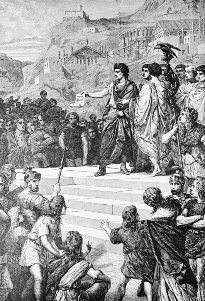 Detail of Illustration of Augustus Establishing Lyons as the Center of Gaul by Corbis