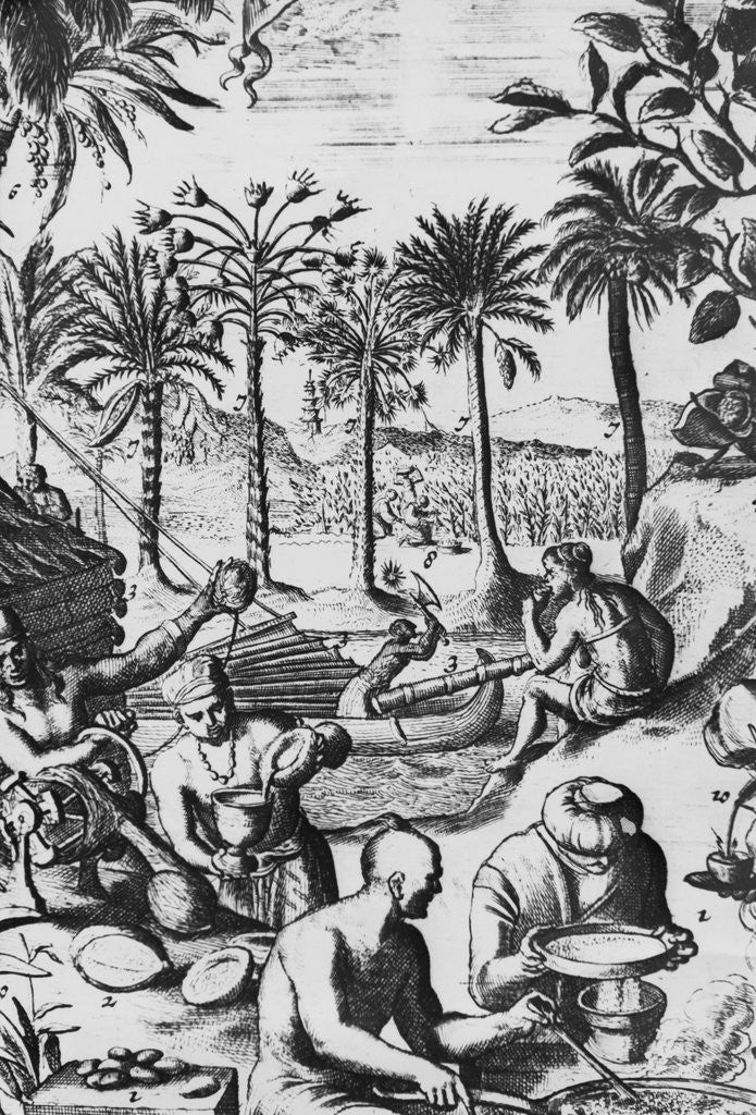 Detail of European Print of Drink Processing Activities in the New World by Corbis
