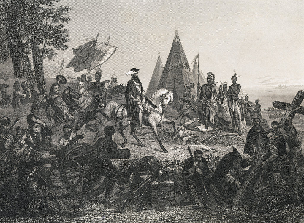 Detail of Hernando de Soto Discovering Mississippi River by Corbis