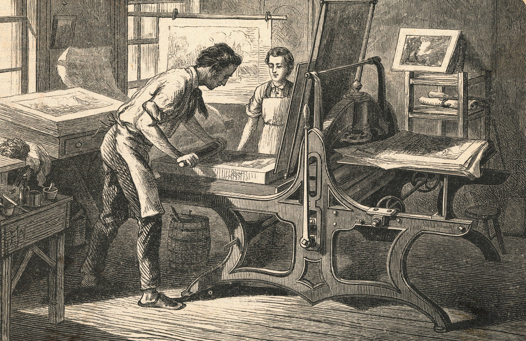 Detail of Master and Apprentice Utilizing Press by Corbis
