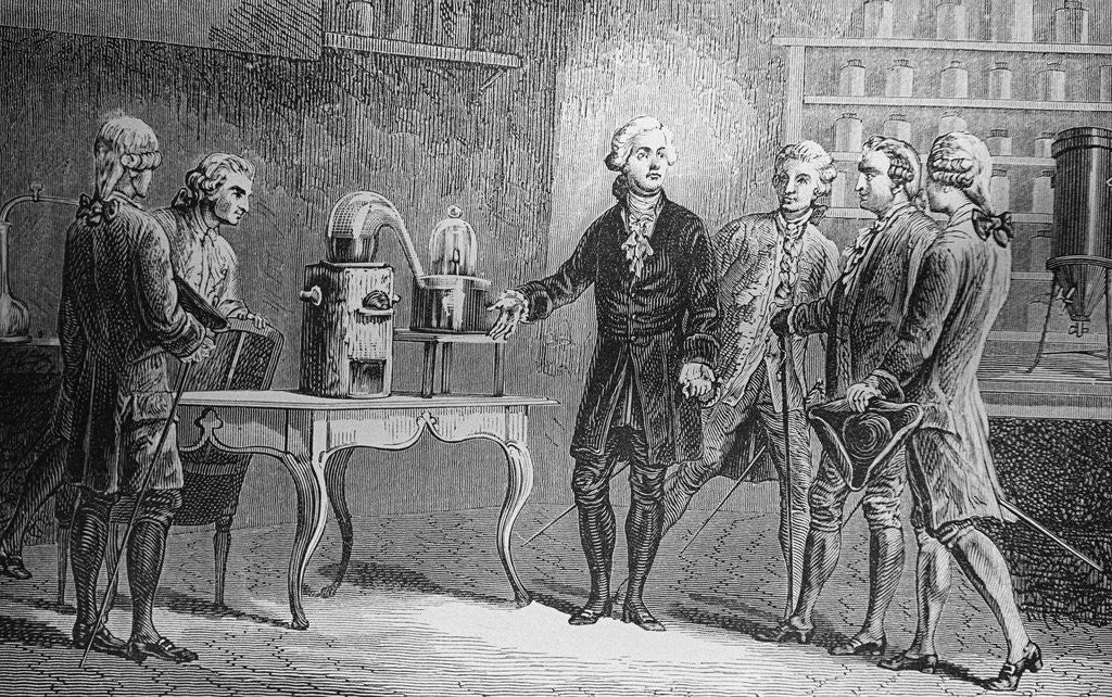 Detail of Antoine Lavoisier Showing Water Experiment to Observers by Corbis