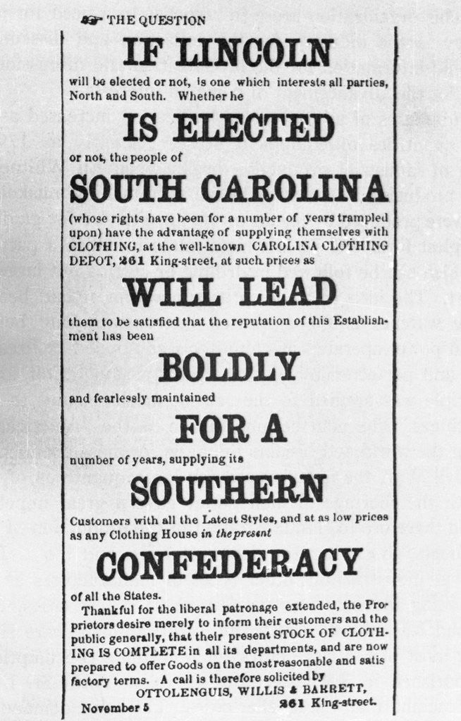 Detail of Advertisement Against Election of Abraham Lincoln by Corbis