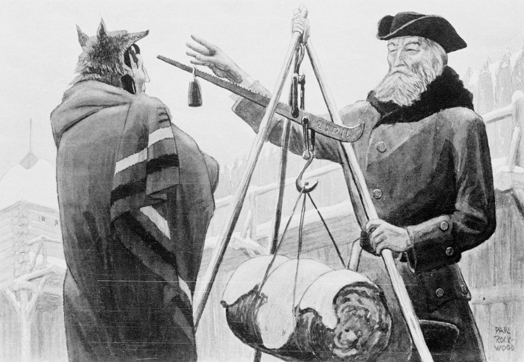 Detail of Men Weighing Furs by Corbis