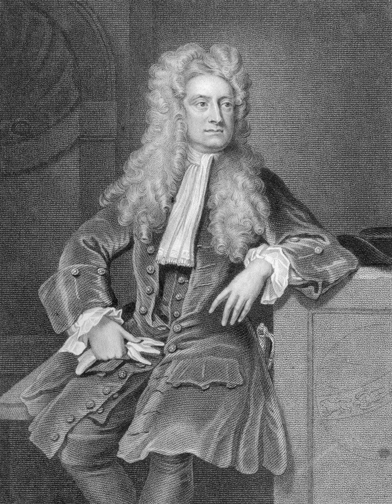 Detail of Engraved Portrait of Sir Isaac Newton by Corbis