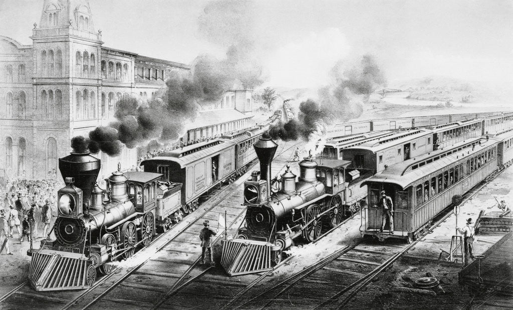 Detail of American Railroad Scene: Lightning Express Trains Leaving the Junction by Currier & Ives