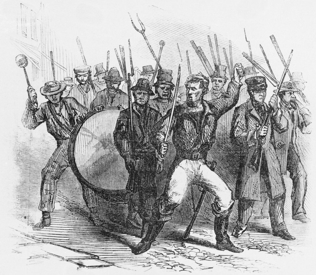 Detail of 19th-Century Woodcut of Rioters During the Louisville Bloody Monday Riots by Corbis