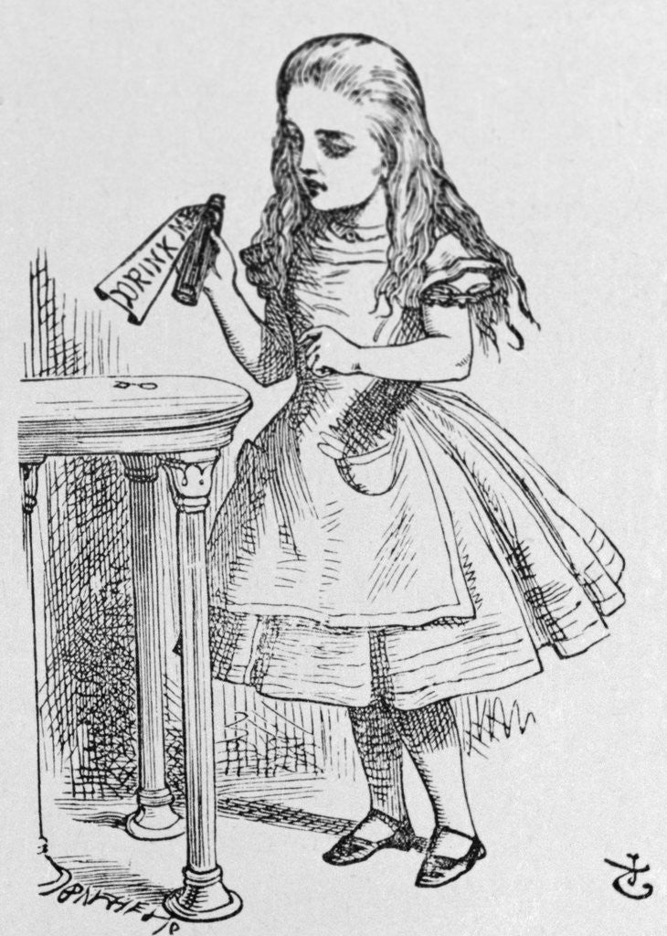 Detail of Illustration Depicting Alice Holding the Bottle Labelled