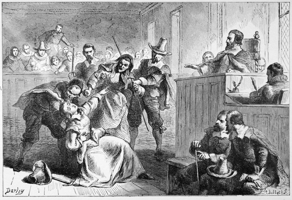 Detail of Engraving of a Suspect Fainting Before Judge During Witch Hunt Trial by Darley