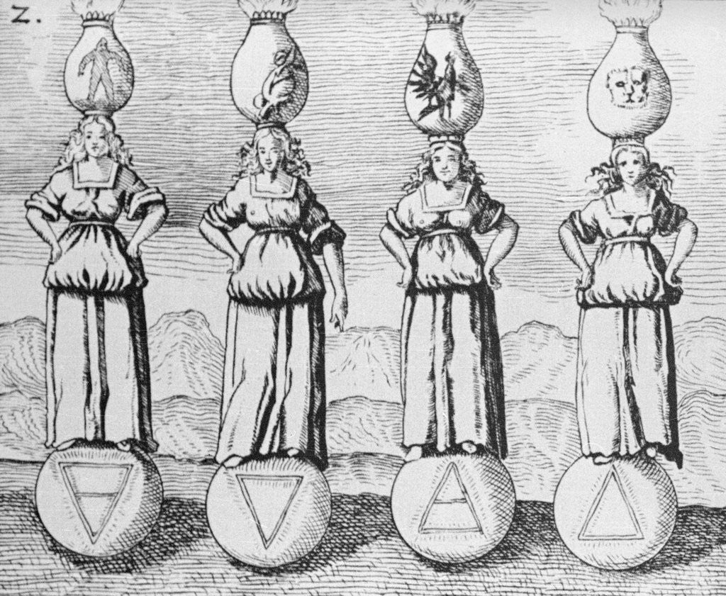 Detail of 17th-Century Engraving of the Symbols of Four Elements by Corbis