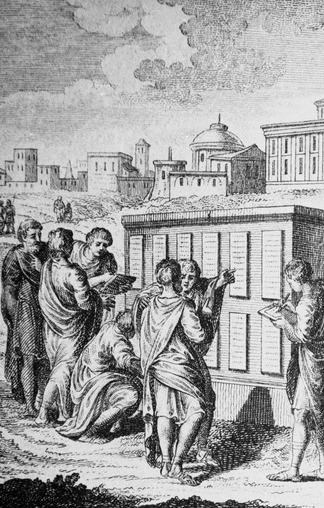 Detail of Engraving of Romans Looking at Law Tablets by Corbis