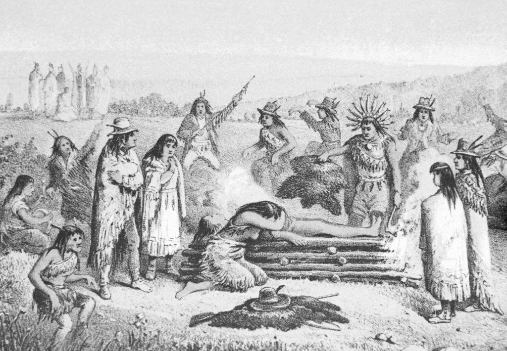 Detail of Illustration of Early Native Americans Burial Rites by Corbis