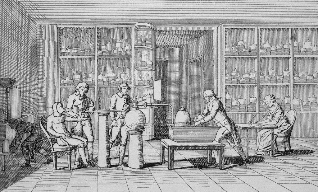 Detail of Antoine-Laurent Lavoisier Watching Lab Experiment by Corbis