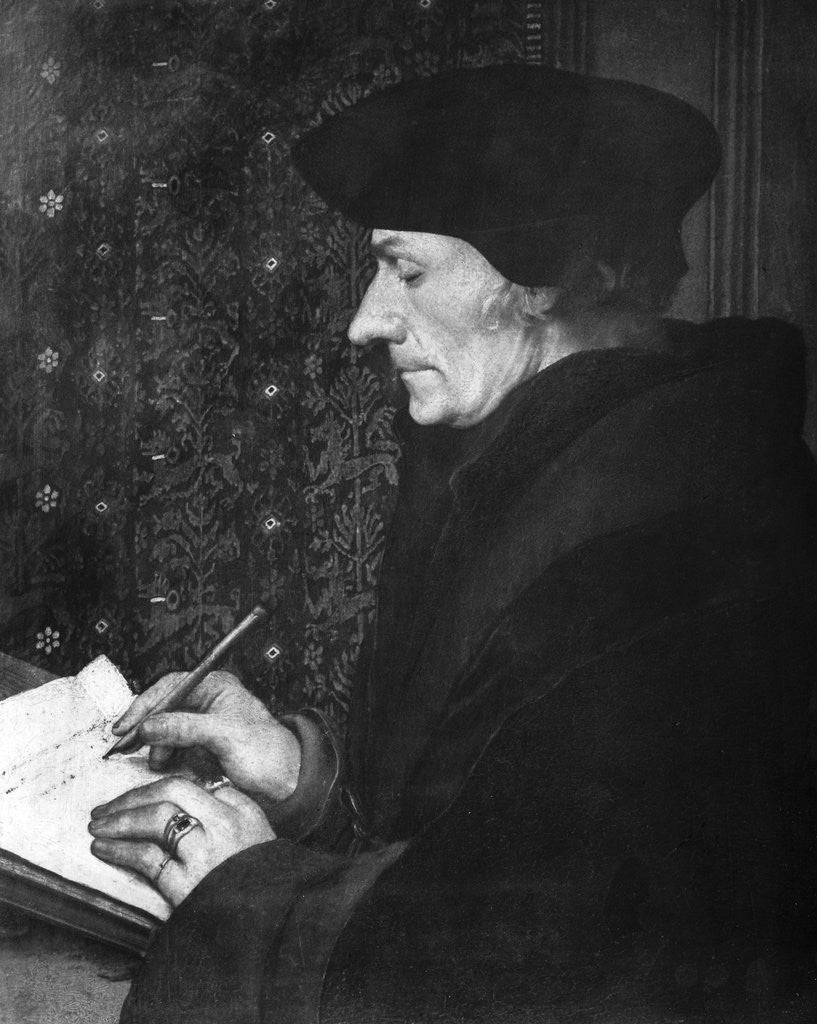 Detail of Desidarius Erasmus Writing At Desk by Corbis