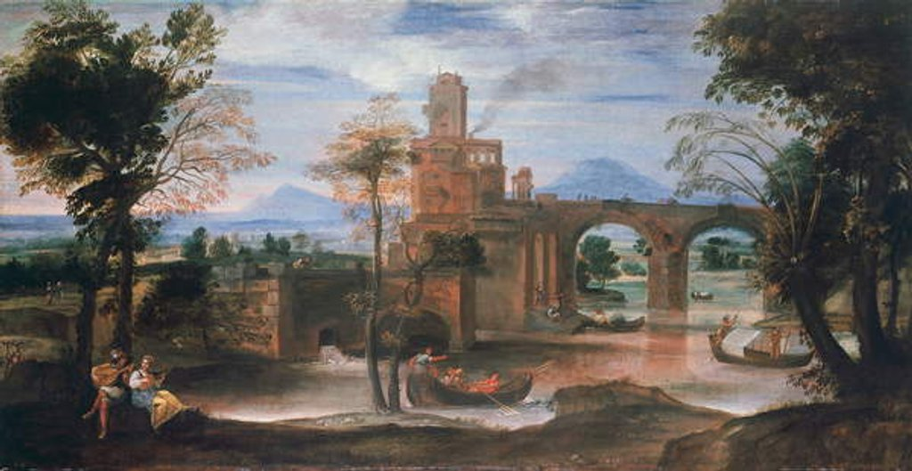 Detail of River landscape with castle and bridge, c.1598 by Annibale Carracci