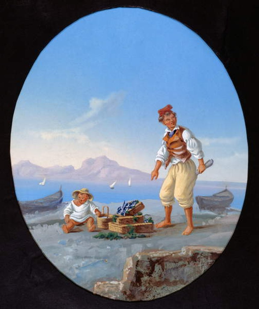 Detail of Fisherman on beach, with island of Capri in background by Italian School