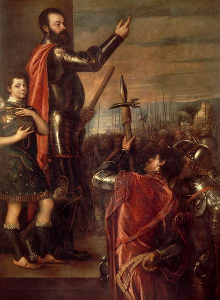 Detail of The Allocution of Alfonso d'Avalos to His Troops, 1540-41 by Titian