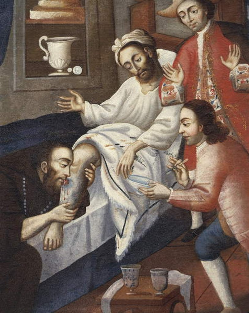 Detail of Religious men treating a patient at St. Andrew Hospital, Cuzco by Marcos Zapata