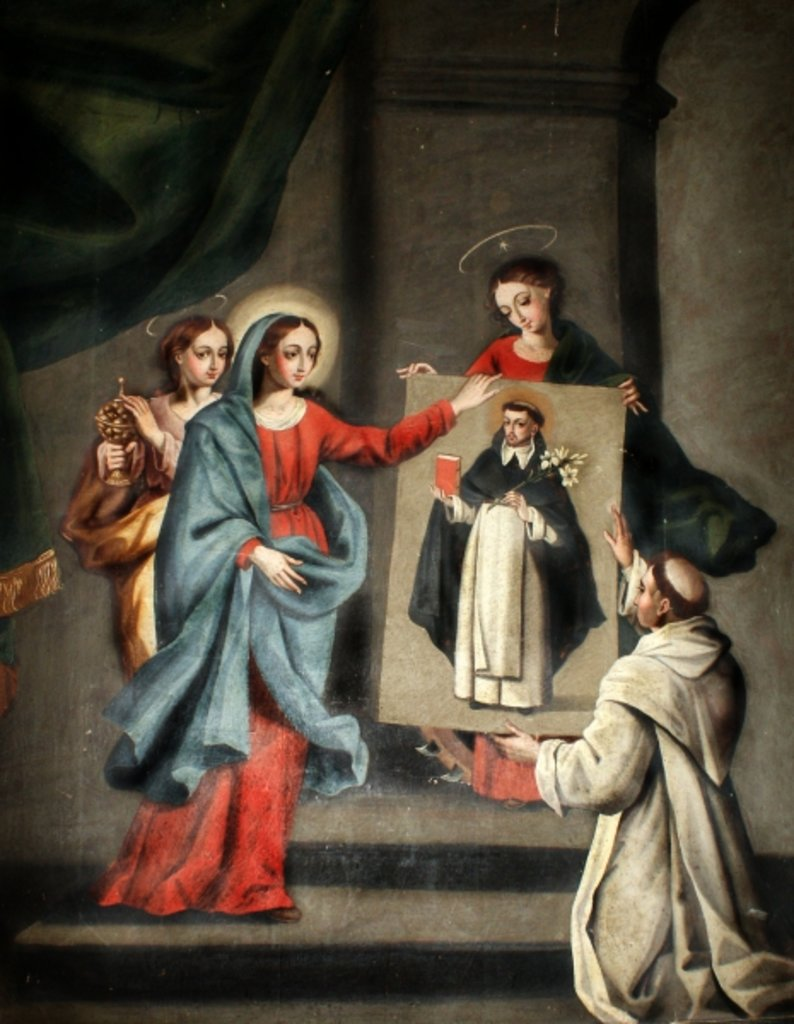 A saint presenting a portrait of St. Dominic to the Virgin Mary