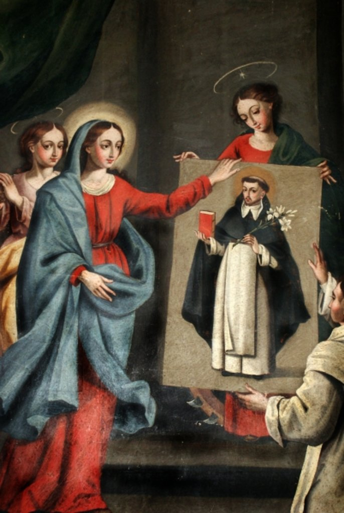A saint presenting a portrait of Saint Dominic to the Virgin Mary