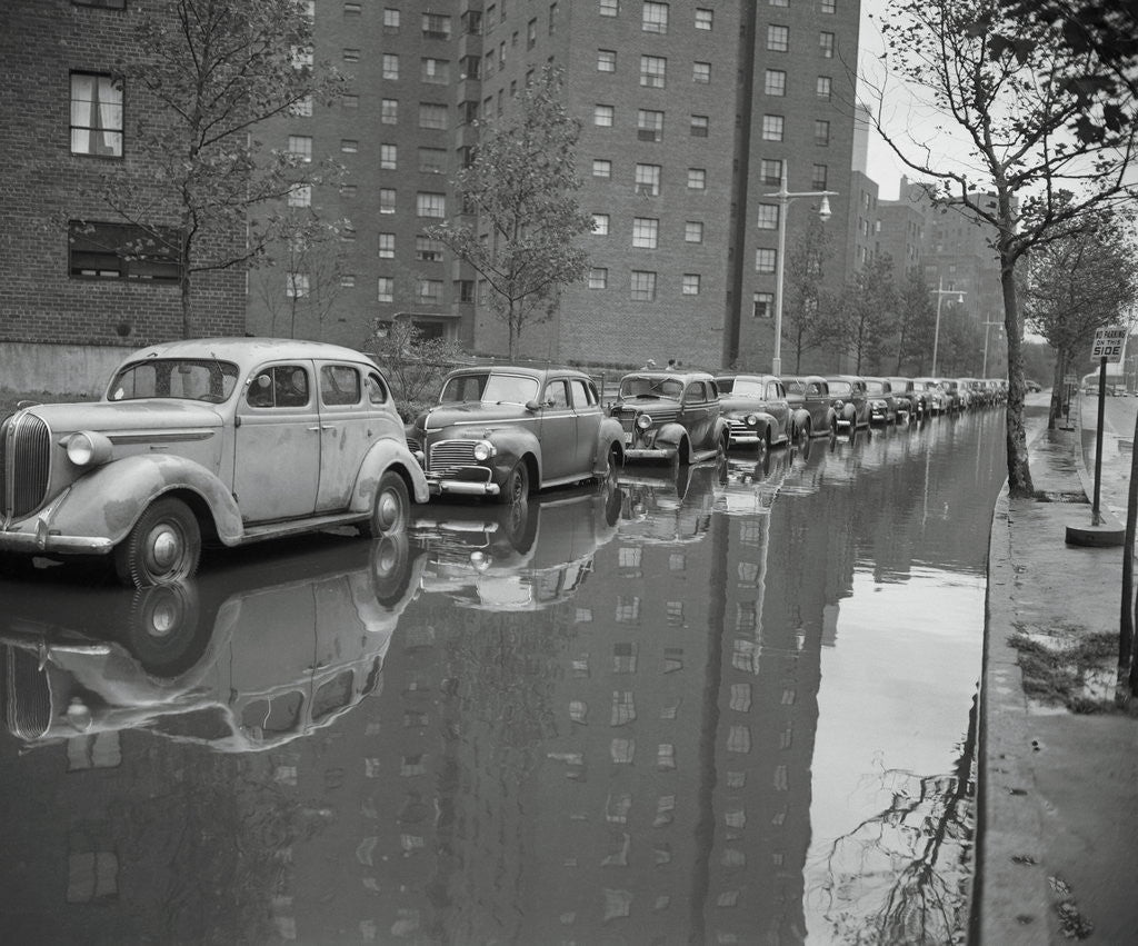 Detail of Cars on Flooded Street in New York City by Corbis