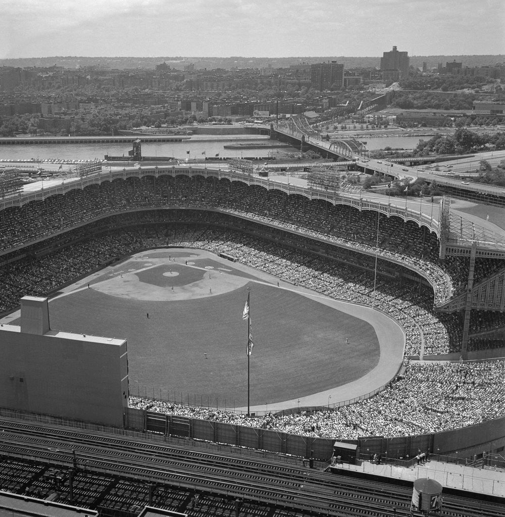 Detail of Aerial View of Crowds at Yankee Stadium by Corbis
