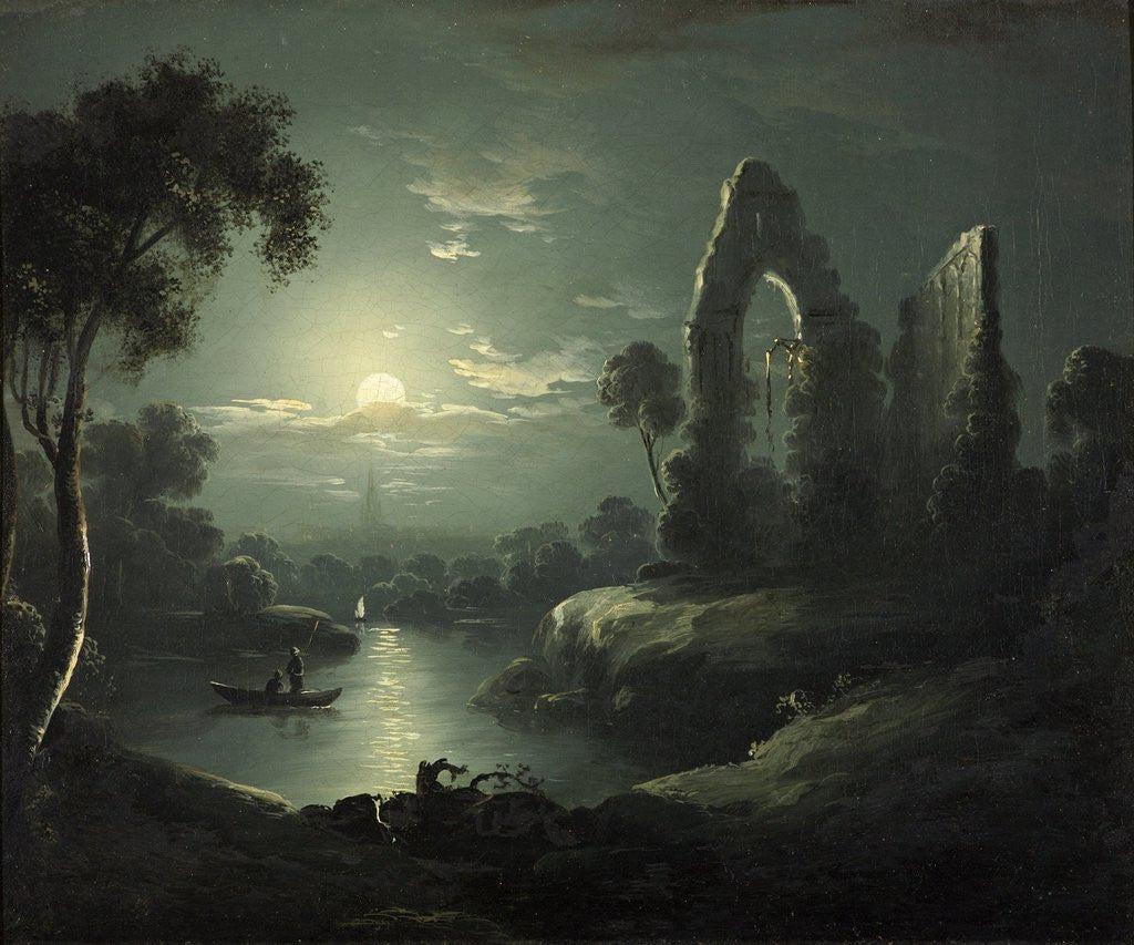 Detail of Moonlit River Landscape by British School