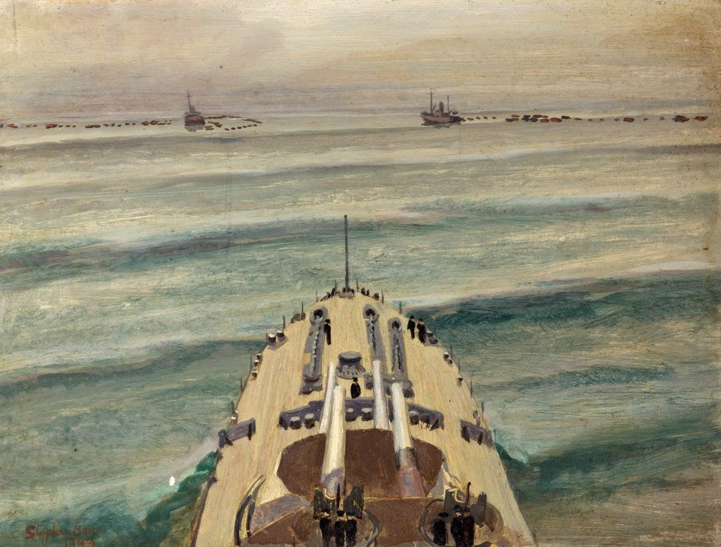 Detail of HMS Malaya Leaving a Protected Anchorage by Stephen Bone