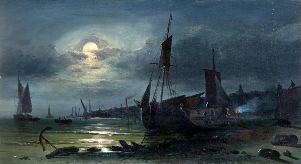 Detail of Moonrise on the Medway by William Callow