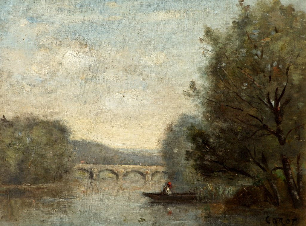 Detail of Landscape with Bridge by Jean Baptiste Corot