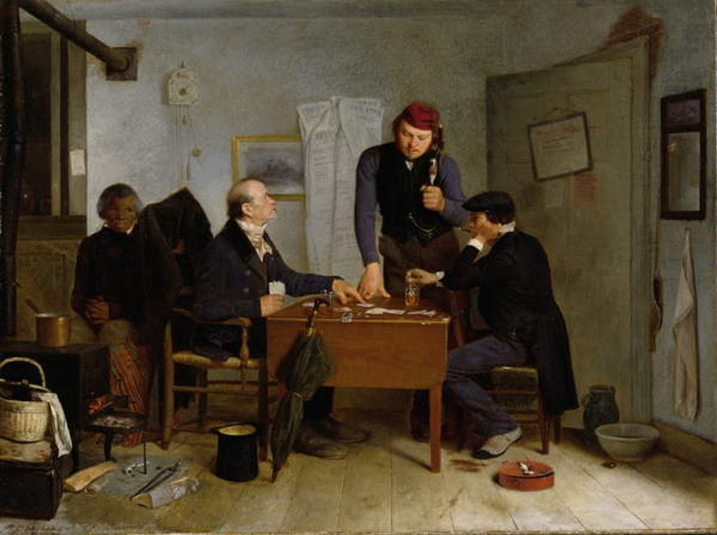 Detail of The Card Players, 1846 by Richard Caton Woodville