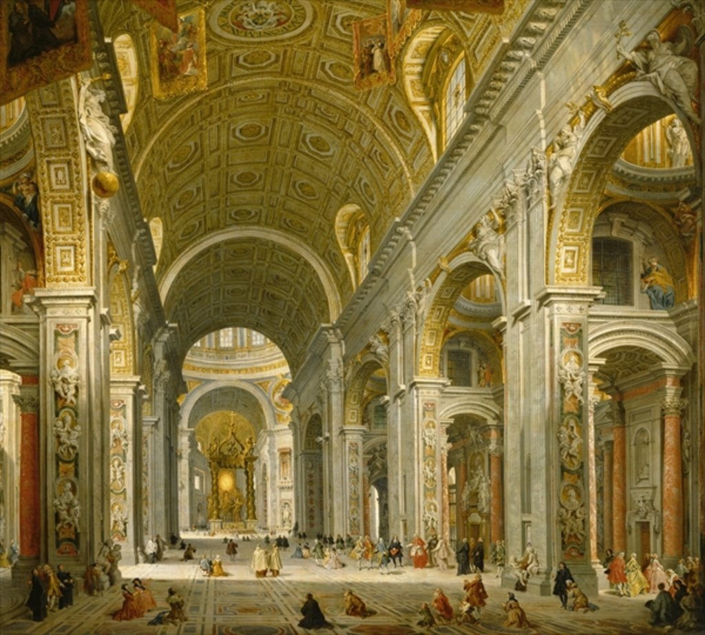 Detail of Interior of St. Peter's, Rome, 1750 by Giovanni Paolo Pannini or Panini