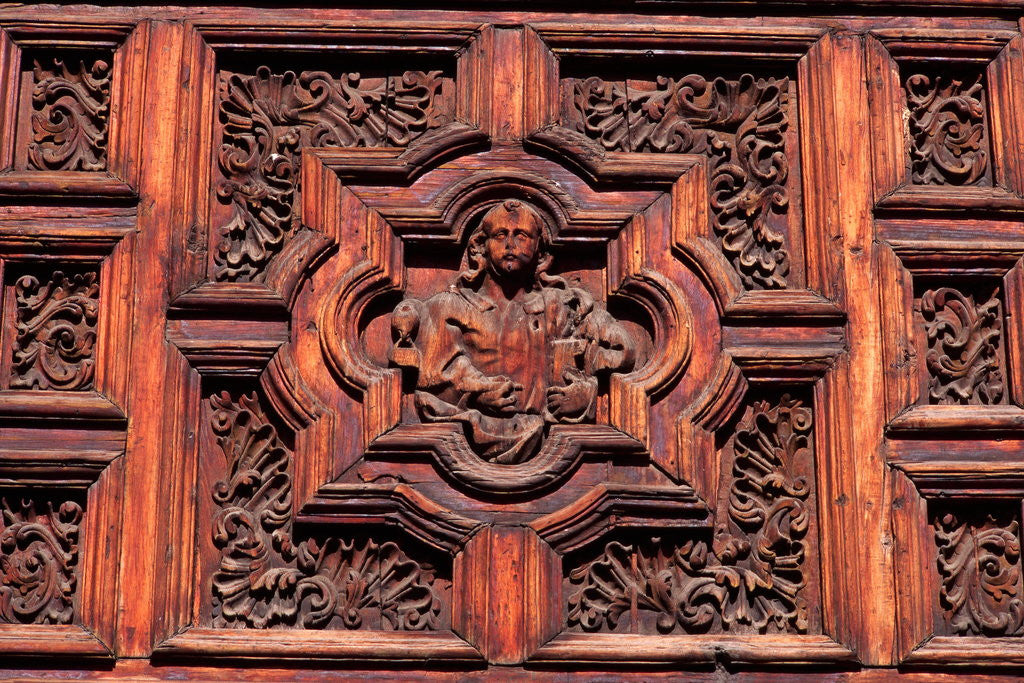 Detail of Carved Door Panel at Church of San Juan de Dios by Corbis