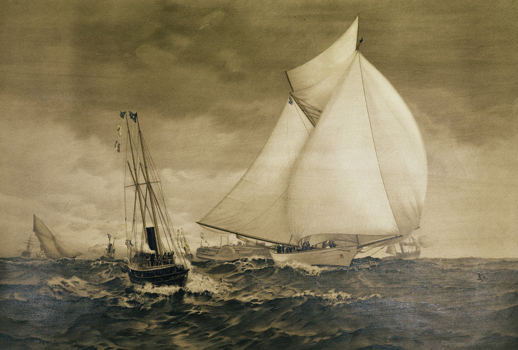 Detail of Painting of Yachting Race by Corbis