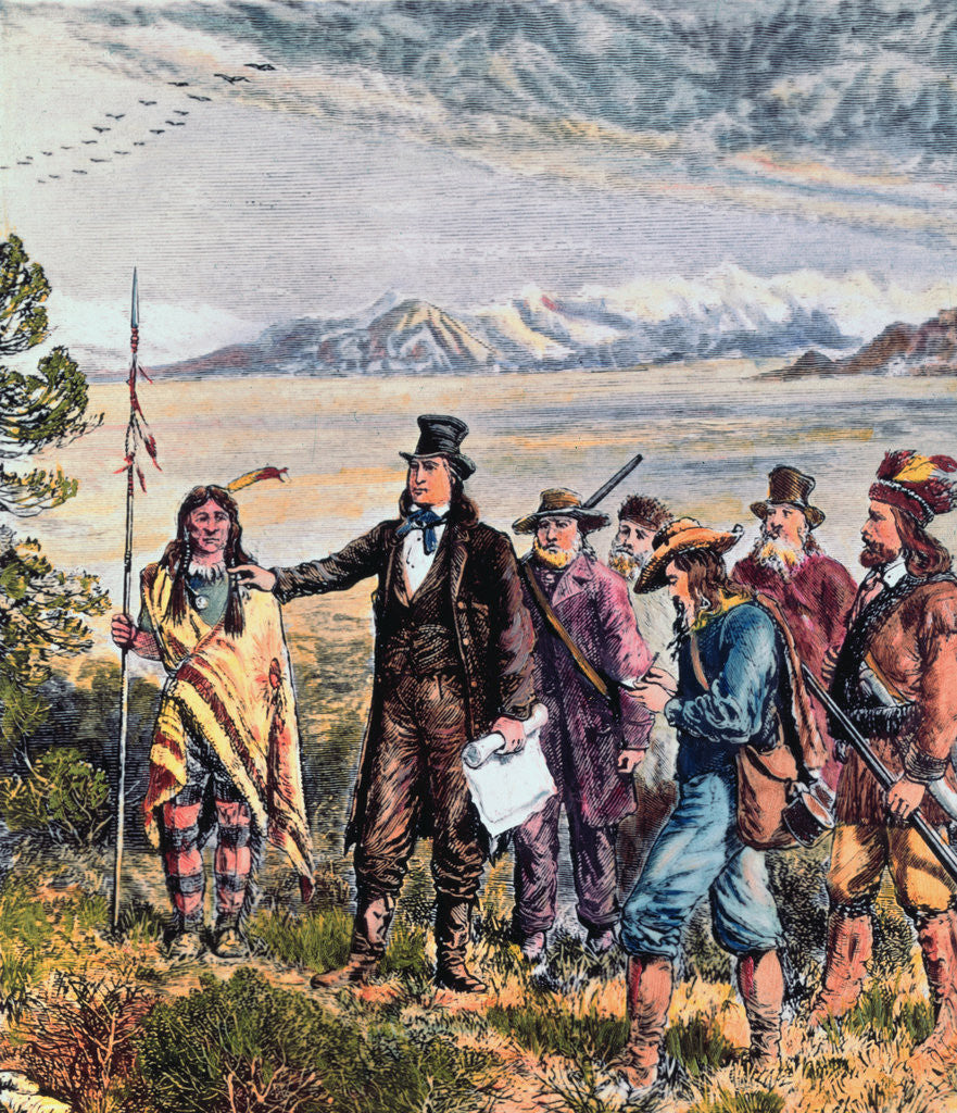 Detail of Engraving of Brigham Young Leading Expedition to Salt Lake, Utah by Corbis