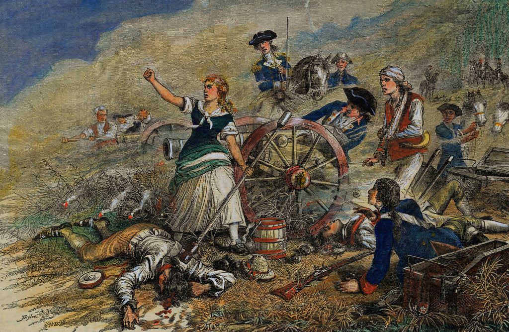 color engraving of molly pitcher at the battle of monmouth posters