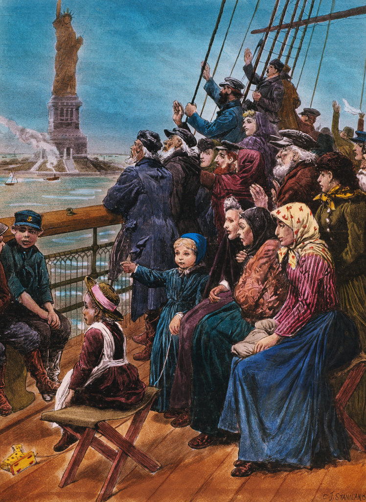 Detail of Jewish Immigrants on Ship near Statue of Liberty by Corbis