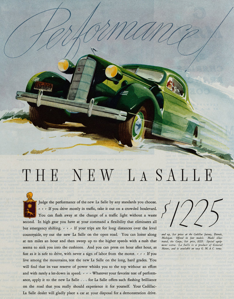 Detail of Advertisement for the New LaSalle Automobile by Corbis
