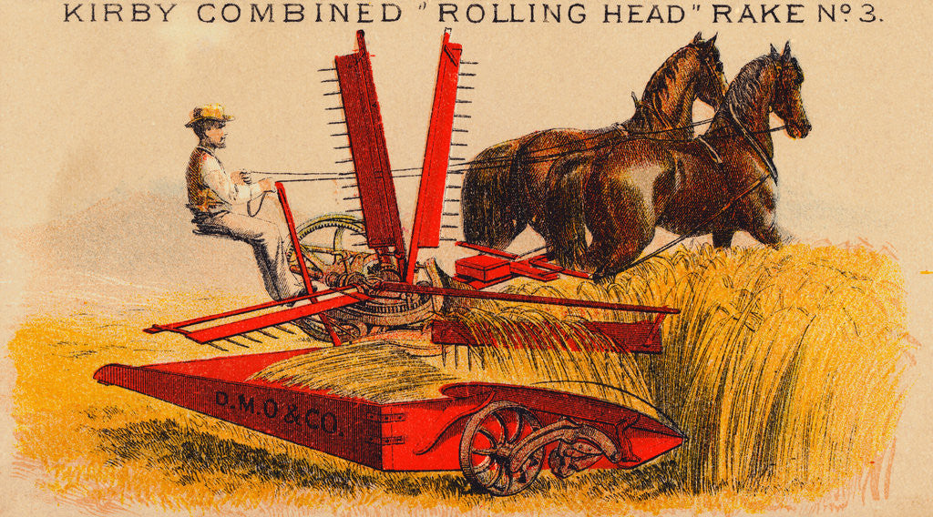 Detail of Farmer Driving Reaping Machine by Corbis