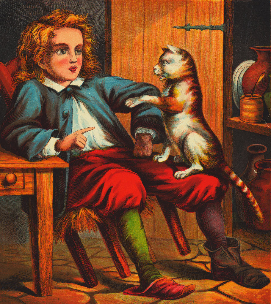 Detail of Puss and Boots Conversing with Young Boy by Corbis