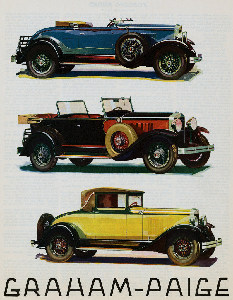 Detail of Advertisement for Graham-Paige Automobiles by Corbis
