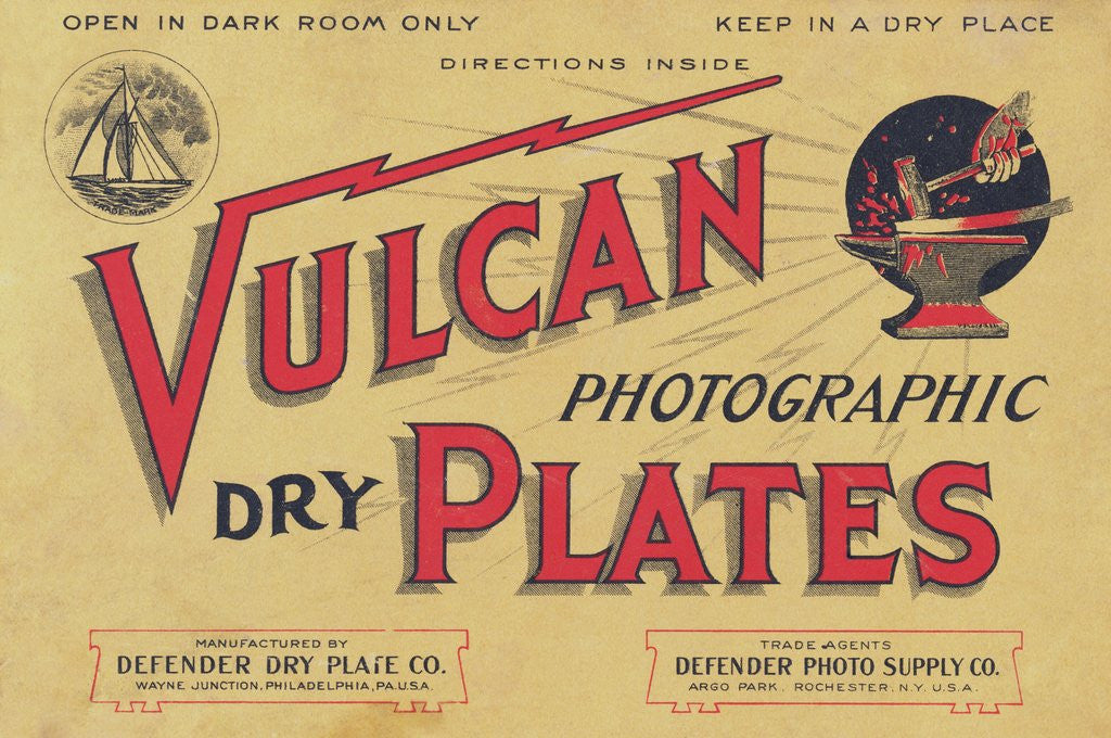 Detail of Advertisement for Vulcan Photographic Dark Plates by Corbis