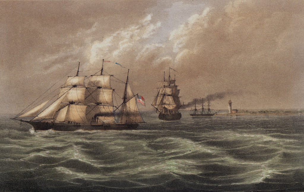 Depiction of Military Vessels Offshore near Lighthouse by Corbis