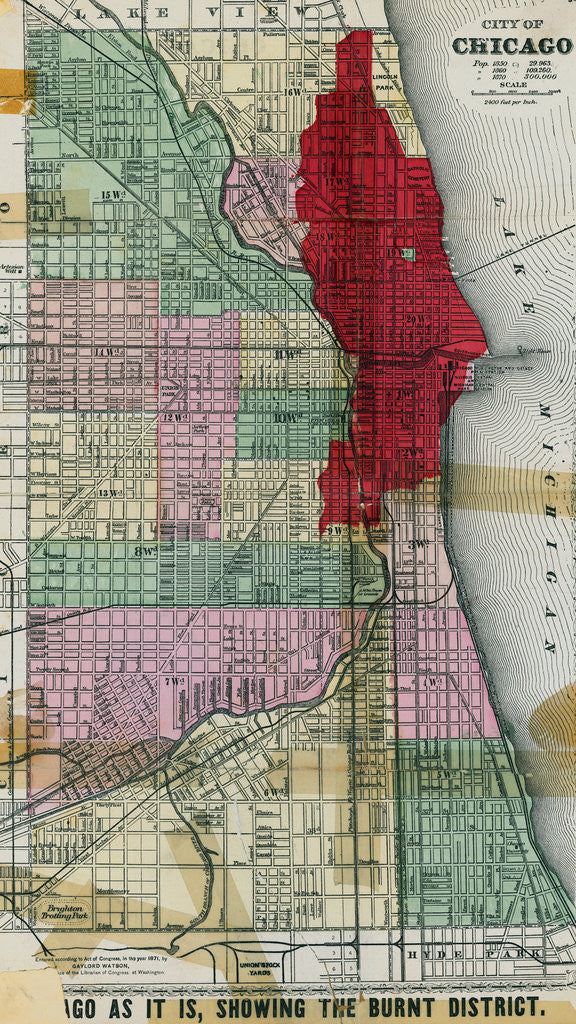 Detail of Chicago City Map Showing Section of Terrible Fire by Corbis