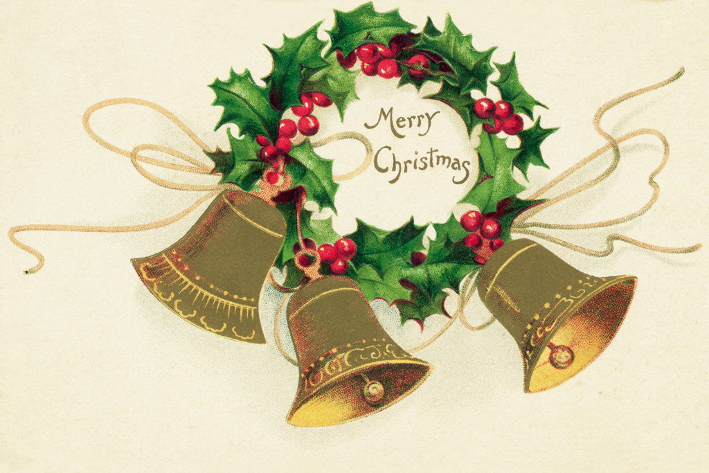 Detail of Christmas Card with Wreath of Holly and a Trio of Bells by Corbis