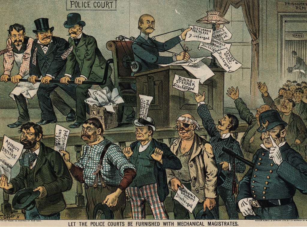 Detail of Illustration Depicting Police Court Shortcomings by Oppet