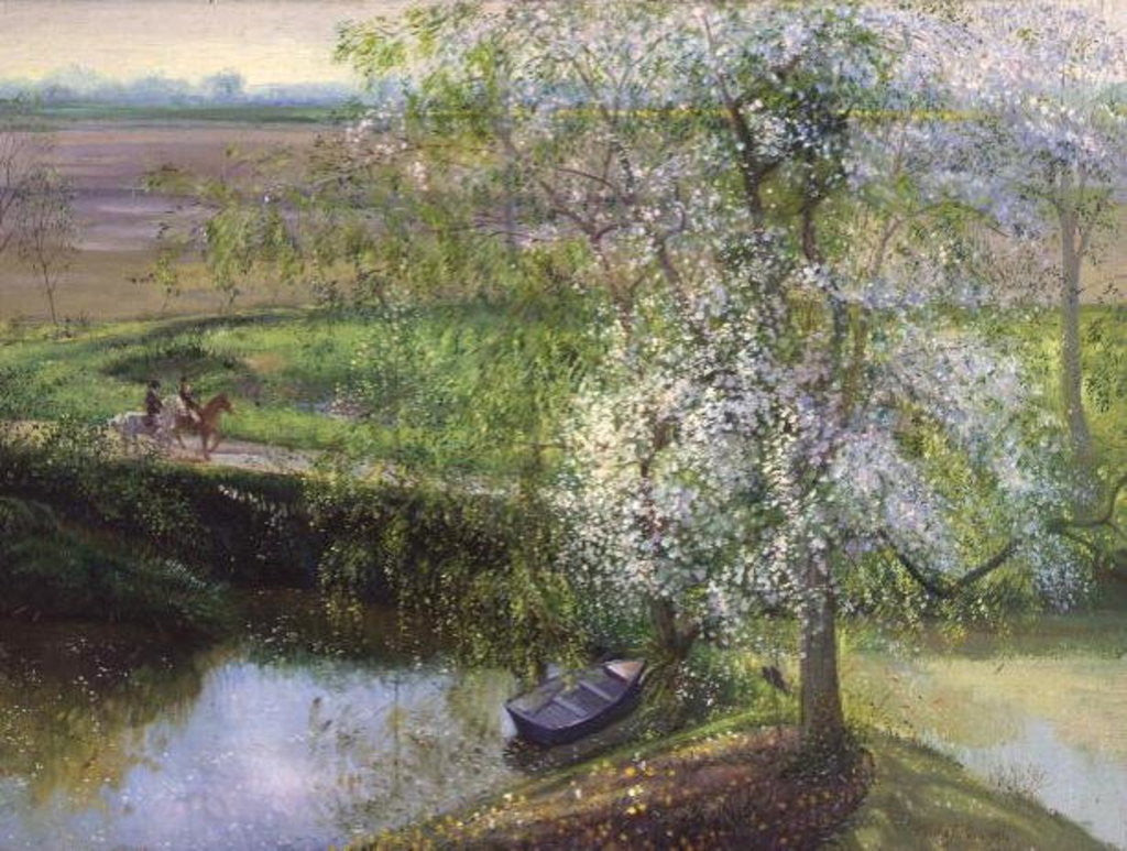 Detail of Flowering Apple Tree and Willow by Timothy Easton