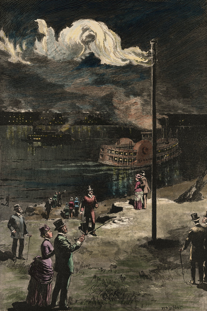 Detail of Citizens Gazing at Gas Exhaust from Well by Corbis