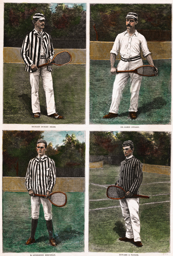 Detail of Illustrations Depicting Early Tennis Players with Their Racquets by Corbis